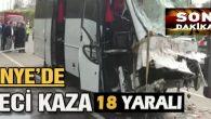 Ünye'de trafik kazasında, 2'si ağır 18 kişi yaralandı